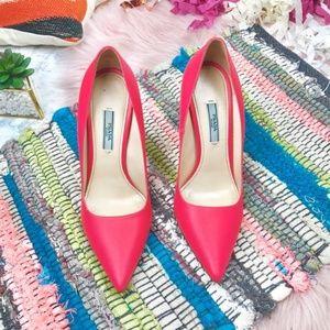 GUC Prada Saffiano Pink Pointed Heels 38.5 IT